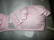 Love Couture 12 Soft Pink Panel Frill Bandeau Bikini Top Removeable Pad Cup