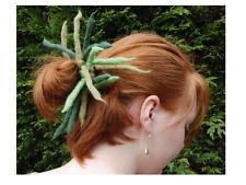 Green dreadlock hair scrunchie - Handmade felted merino wool dreads