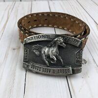 "1984 National Western Stockshow Belt Buckle  & Tooled Leather Belt ""Sherry"""