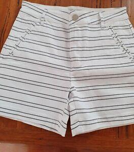 Rockmans Black & White Pin Stripe Stretch Shorts Size 8