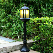 Amber Glass Black Metal Outdoor Pillar Lantern Garden Yard Post Lamp Waterproof