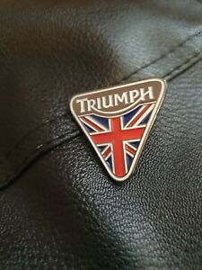 Biker Triumph Union Jack Enamel Finish Triangular Pin Badge New