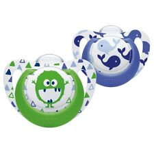 NUK Genius Silicone Orthodontic Soother Dummy 2PK 6-18m Whale/Monster Blue Green