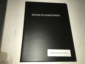 RECORD OF ACHIEVE PVC FOLDER IN BLACK LEATHER LOOK PVC- SILver + YOUR NAME