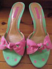 UNISA, Size 7.5 B Medium, Hot Pink & Green Polka Dot Sandals Kitten Heels Shoes