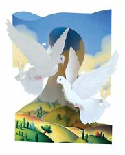 Doves Celebration Santoro London Greeting Card 3D Interactive Swing Card