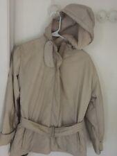 Max Mara Women's Cream Color jacket Coat Sz 2 double Zip & button belt fur hood
