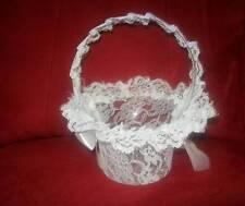 2 x WEDDING FLOWER GIRL BASKET WHITE LACE NEW