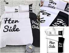 His And Her Side Duvet Cover Funny Bedding Set Cotton Queen Size Love Gift 3 Pcs