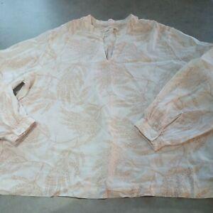 M&S 16 Per Una Cotton Linen Mix Blouse Fern Leaf Detail