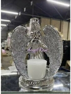 Sparkle Ornament Bling Crushed  Diamond CRYSTAL Angel statue Candle Holder