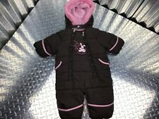 Bon Bebe Girl's Brown One Piece 3-6 Months Pink Accents Hood Mittens & Footsies