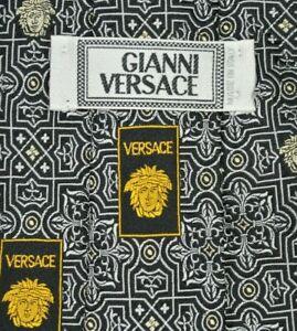 GIANNI VERSACE MEDUSA Tie 100% Silk Black/White Color L60 W3.7