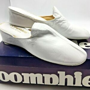 Vtg. Oomphies Made N Spain Women's Kidskin White Leather House Slippers Size 6 M