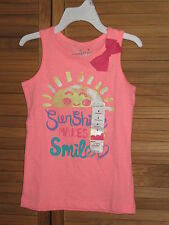 Girl's Jumping Beans Sunshine Makes Me Smile Peach Tank Top Size 5 NWT #CL103