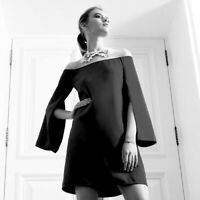 Anne Fontaine Size 38 Caralie Crepe Dress Cape Sleeve Black Mesh Designer Cutout
