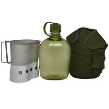 1L Transparent Green WATER BOTTLE SET Military Canteen Cover Cup Mug Stand Combo