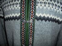 vintage Wolljacke Strickjacke oldschool Tracht hippie Style Jacke norweger L