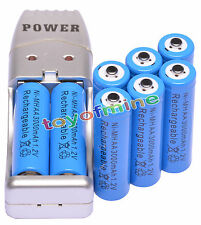 8 xAA Blue Color 1.2VNi-MH 3000mAh Rechargeable Battery + USB Charger