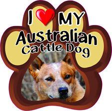 I Love My Australian Cattle Dog Cute Dog Bumper Sticker Paw #151