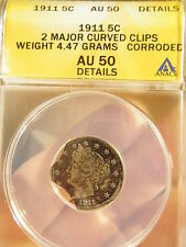 1911 V NICKEL *  WITH 2 LARGE CLIPS  ANACS AU50 *