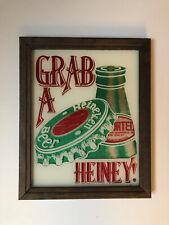 Heineken Beer Vintage Painted Glass Bar Sign Grab A Heiney! Wooden Frame