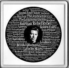 """Acrylic Drink Mat Coaster Word Art David Bowie Record Song Titles 4"""" x 4"""" NEW"""
