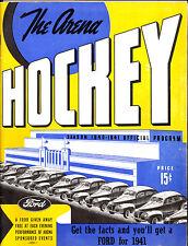 1940 1941 THE ARENA OFFICIAL CLEVELAND BARONS VS HERSHEY BEARS HOCKEY PROGRAM