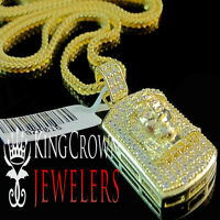 Real Yellow Gold Over Silver Mini Dog Tag Jesus Face Pendant Chain Simu Diamond