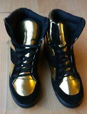 ASOS Pour Femme or Noir En Daim Cheville Bas Talons Hauts Bottes Chaussures Taille UK 6 39 NEW