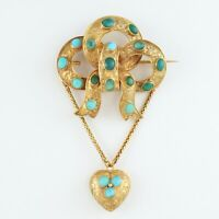 Antique Victorian 15Ct Gold And Turquoise Knot Pendant / Brooch With Heart Drop