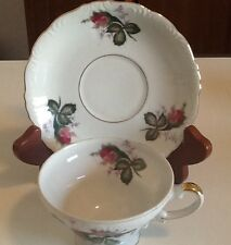Vintage Tea Cup and Saucer Japanese Style Purple Flowers with Green Leaves