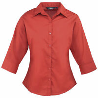 Ladies Womens ¾ Sleeve Blouse Top Business Shirt Work From Size 6-26 8 Colours