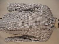 Peter Millar Mens White Brown Tattersall Long Sleeve Cotton Shirt XL
