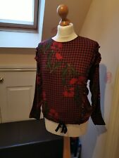 Zara Red Floral Check Ruffle Sleeve Blouse Size XS