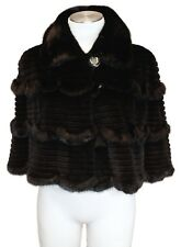 New BLACK GROOVED SHEARED & UNSHEARED MINK FUR CAPELET DAVID APPEL w/Storage Bag