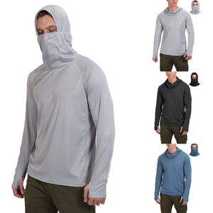 Mens Sun Skin Protection T-Shirt Hoodie Long Sleeve Outdoor Fishing Tops 50+ UPF