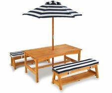 KidKraft 106 GartenmöbelSet  Tisch Bank Kissen  Sonnenschirm aus Holz  Kinder  d