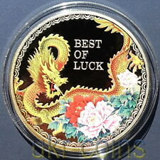 2012 Cook Islands Lunar Year of the Dragon Luck 1 Oz Silver Proof Color Coin $5