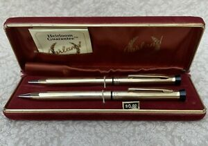 Vintage Garland 12kt Gold Filled Pen & Pencil Set w/Box & Instruction Papers