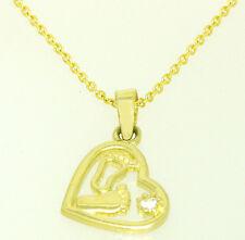 Collier Hals Kette + Herz Anhänger M. Zirkonia 585 Gold Gelbgold Massiv 14kt