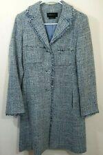 Vintage BCBG Maxazria XS Long Jacket Multi Color Blue Fringed Edges Wool Blend