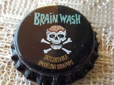BRAIN WASH BOTTLE CAP UNUSED * PLASTIC INSERT * UN-CRIMPED * SKULL & CROSSBONES
