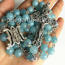 Natural Aquamarine Beads catholic 5 FIVE DECADE ROSARY CROSS gifts necklace Box