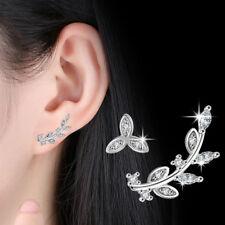 925 Sterling Silver Crystal Tree Leaf Stud Earrings For Fashion Women Jewellery