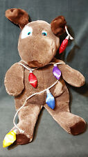 2003 AGC COMMONWEALTH CUDDLY MESSENGER PLUSH BROWN PUPPY DOG W/ CHRISTMAS LIGHTS
