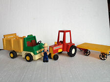 VINTAGE FISHER PRICE BRONCO RODEO FARM TRUCK & HUSKY HELPERS Farmer Tractor
