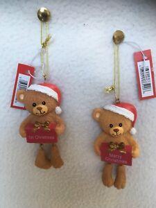 Teddy Bear Hanging Xmas Decoration Merry Christmas or 1st Christmas
