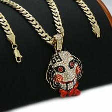 "Hip Hop Gold PT Tekashi69 Jigsaw pendant & 6mm 20"" Cuban Choker Chain Necklace"