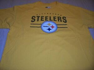 NFL TEAM APPAREL PITTSBURGH STEELERS GOLD T-SHIRT MENS XL EXCELLENT